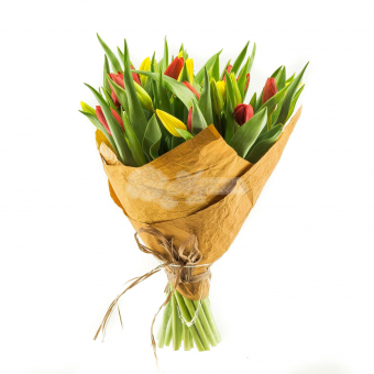Букет из 25 тюльпанов в упаковке