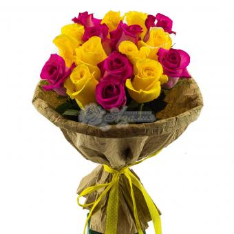 Букет из 17 ярких Эквадорских роз